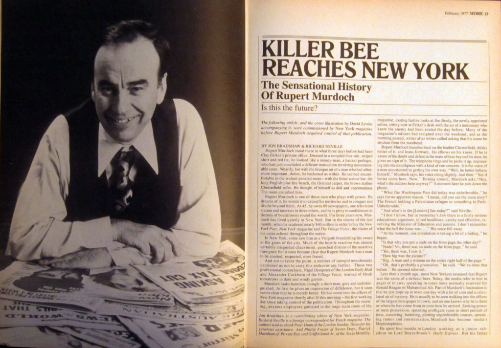 Killer Bee Reaches New York, More magazine, February 1977