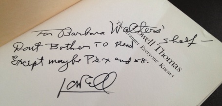 Lowell Thomas's inscription to Barbara Walters